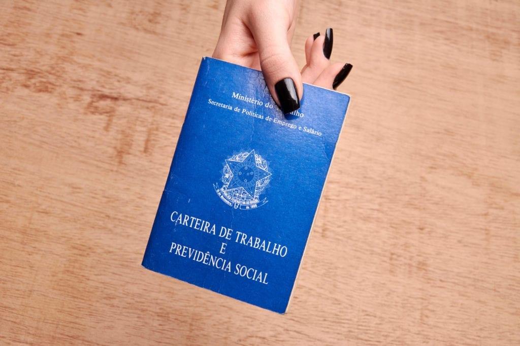 registro da empregada doméstica - mão feminina segurando uma carteira de trabalho