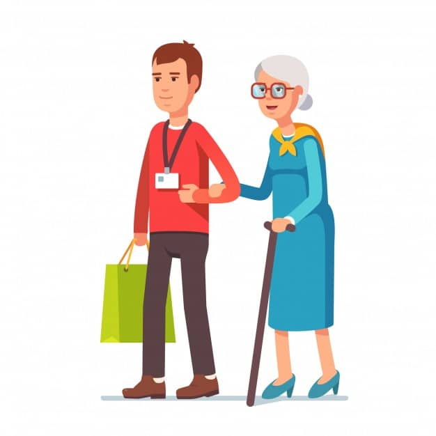 Cuidador de idosos em viagem
